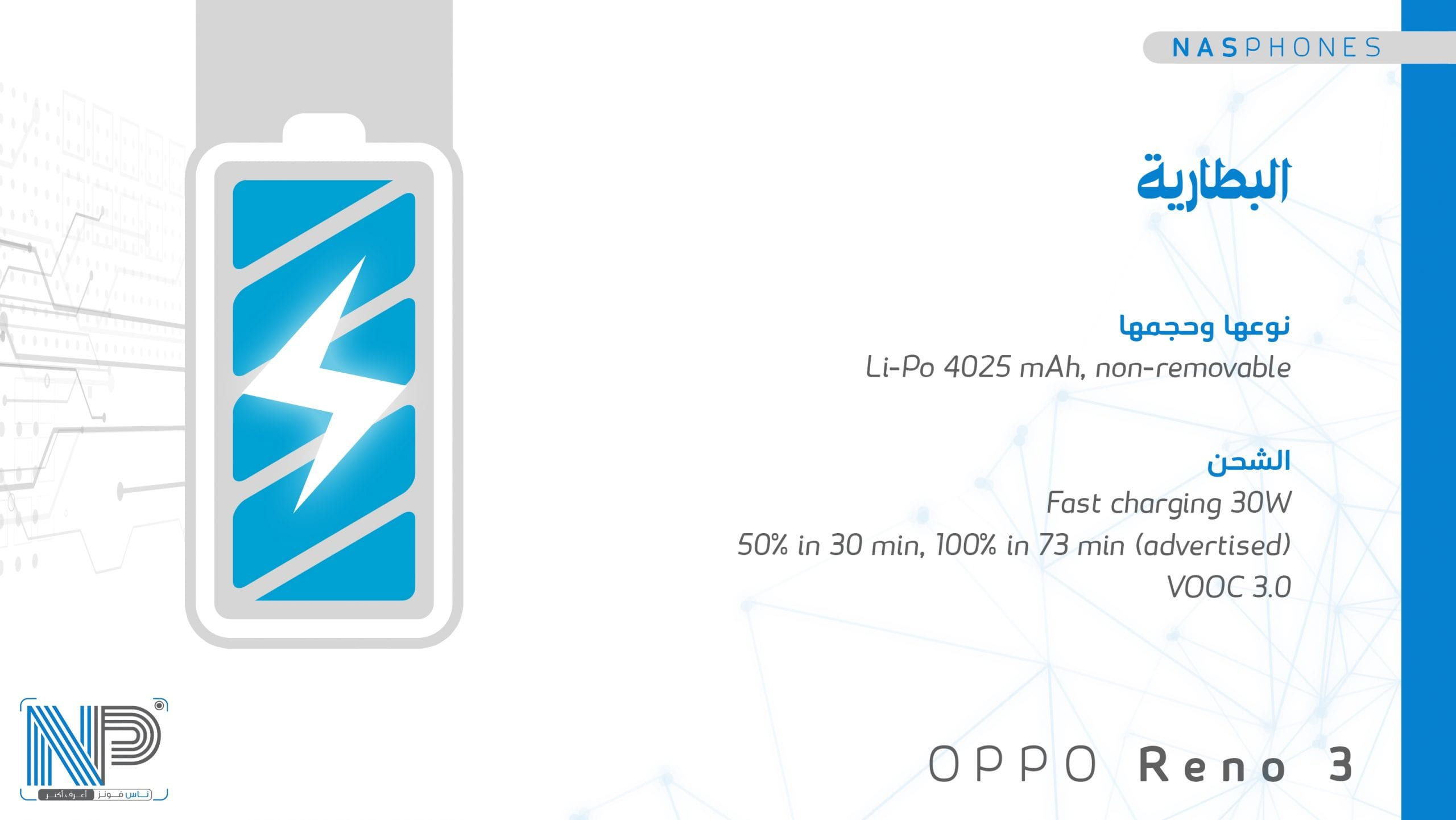 بطارية موبايل Oppo reno 3