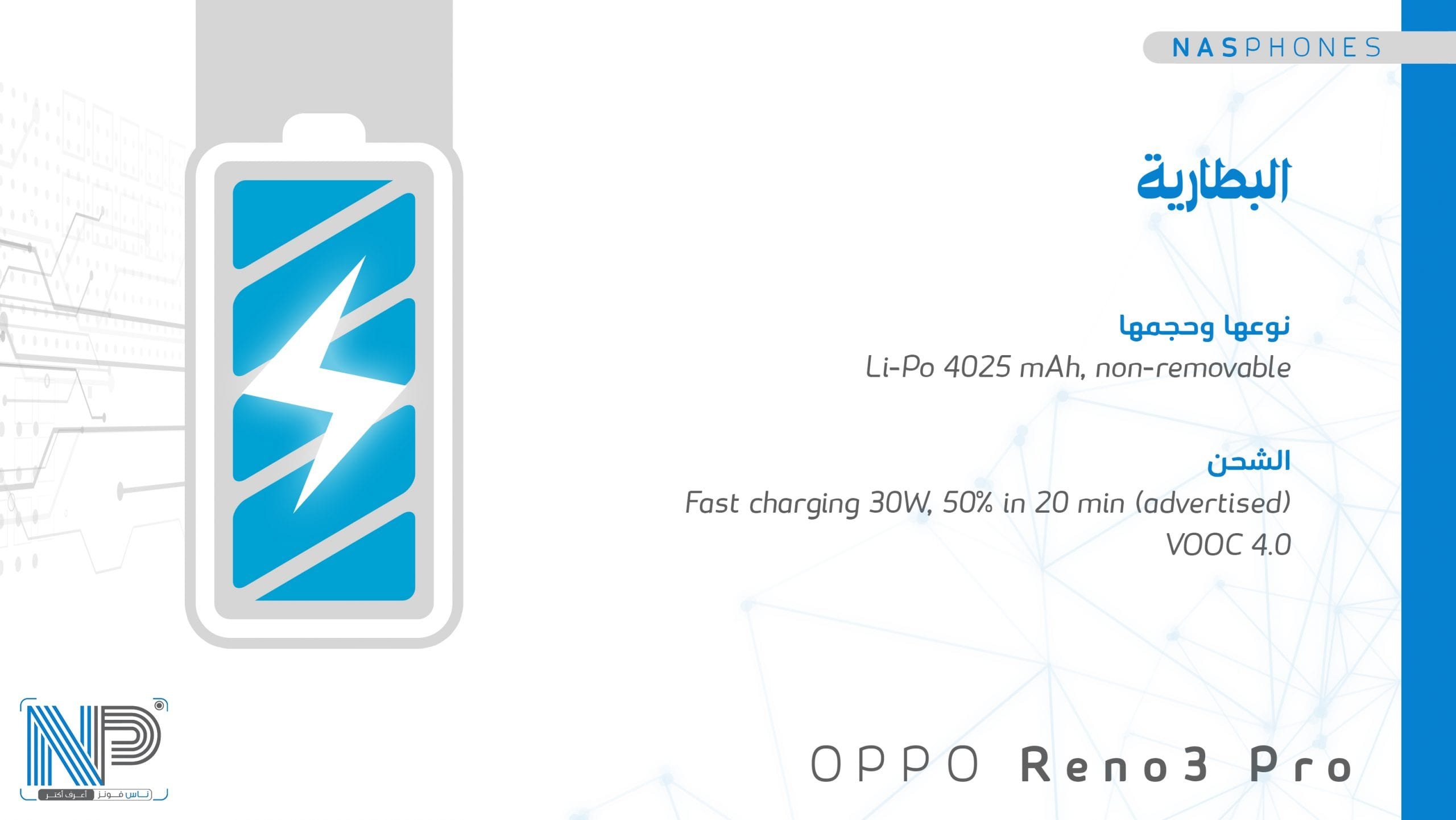 بطارية موبايل Oppo reno 3 pro